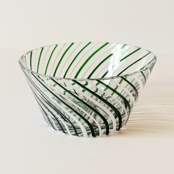 Other - Striped Candy Dish Eastern Glass Serving Bowl